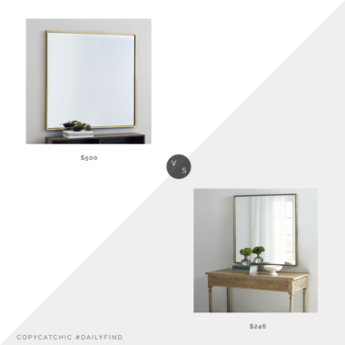 Daily Find: West Elm Metal Frame Square Mirror vs. Ballard Designs Jolan Square Mirror, square mirror look for less, copycatchic luxe living for less, budget home decor and design, daily finds, home trends, sales, budget travel and room redos