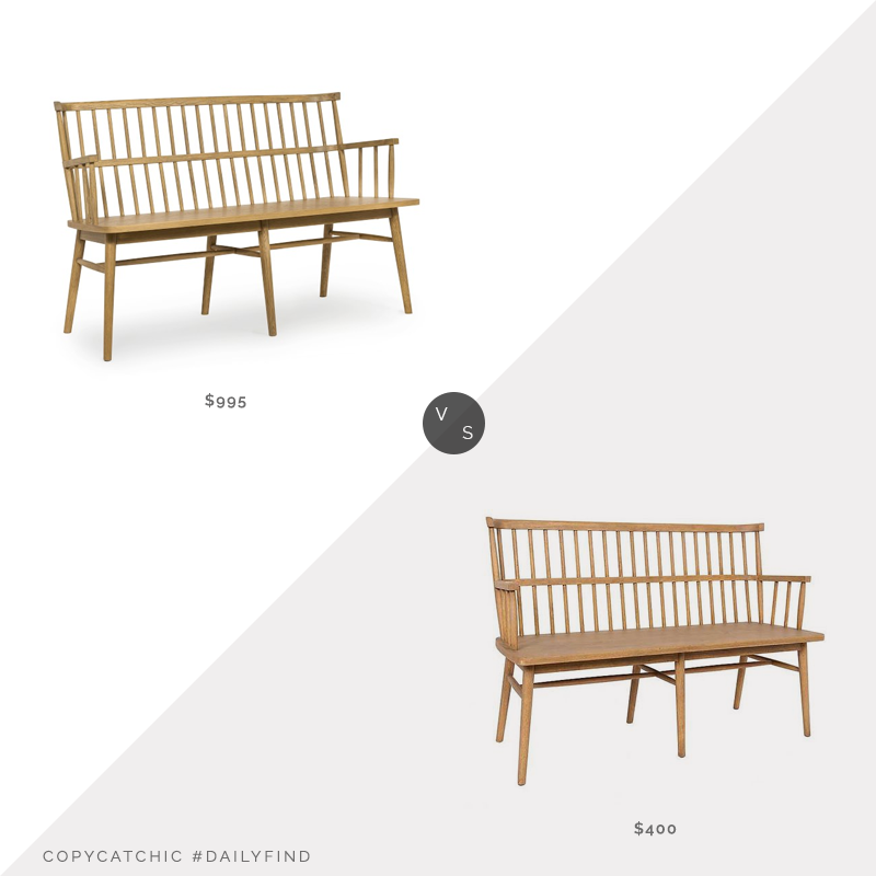 Daily Find: Williams Sonoma Home Charleston Bench vs. Kirkland's Sandy Oak Aspen Wooden Bench, oak bench look for less, copycatchic luxe living for less, budget home decor and design, daily finds, home trends, sales, budget travel and room redos