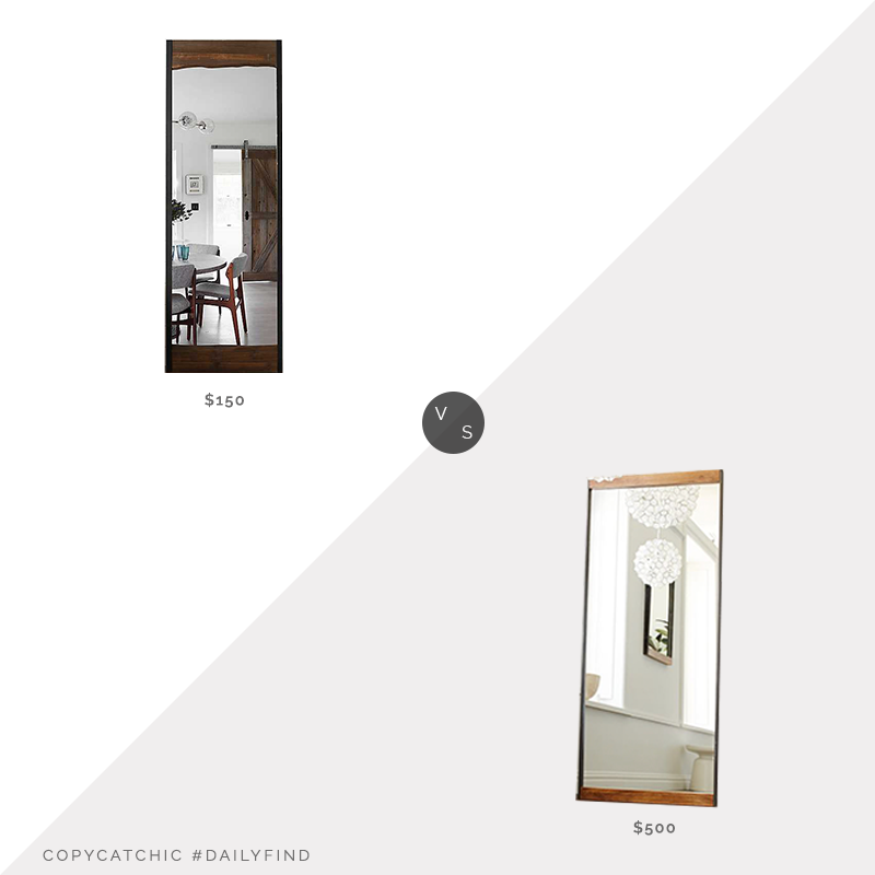 Daily Find: West Elm Industrial Metal & Wood Floor Mirror vs. Kirkland's Live Edge Wood & Metal Full Length Mirror, live edge mirror look for less, copycatchic luxe living for less, budget home decor and design, daily finds, home trends, sales, budget travel and room redos