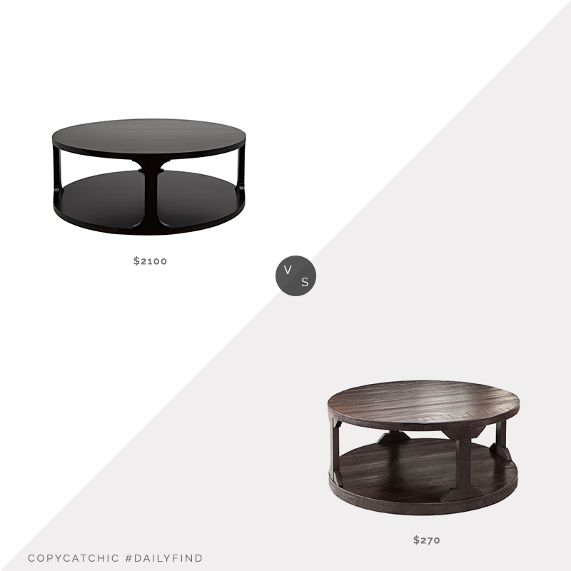 "Daily Find: Blue Hand Home CFC Gimso Round Coffee Table (48"") vs. Overstock Signature Design by Ashley Rogness Casual Rustic Brown Coffee Table (38""), round two tier coffee table look for less, copycatchic luxe living for less, budget home decor and design, daily finds, home trends, sales, budget travel and room redos"