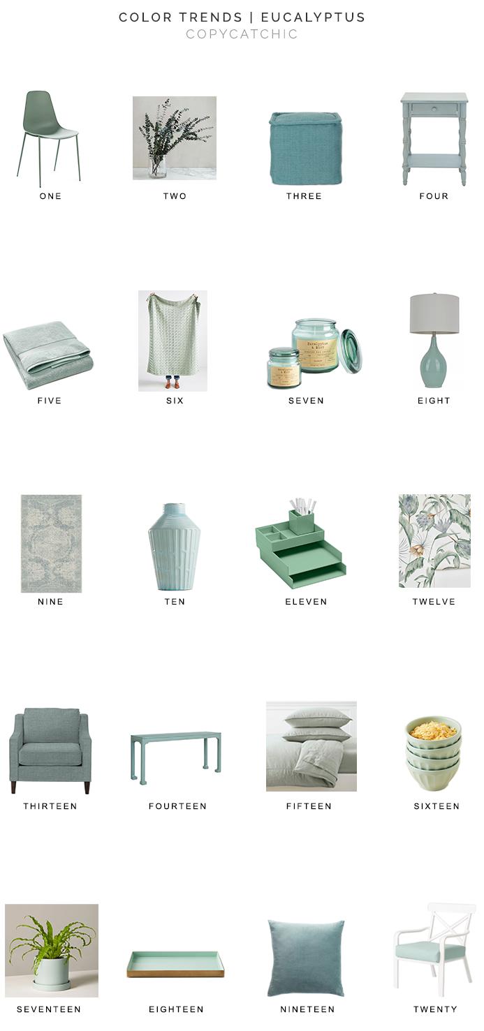 eucalyptus colored decor, eucalyptus blue, eucalyptus green, copycatchic luxe living for less, budget home decor and design, daily finds, home trends, sales, budget travel and room redos