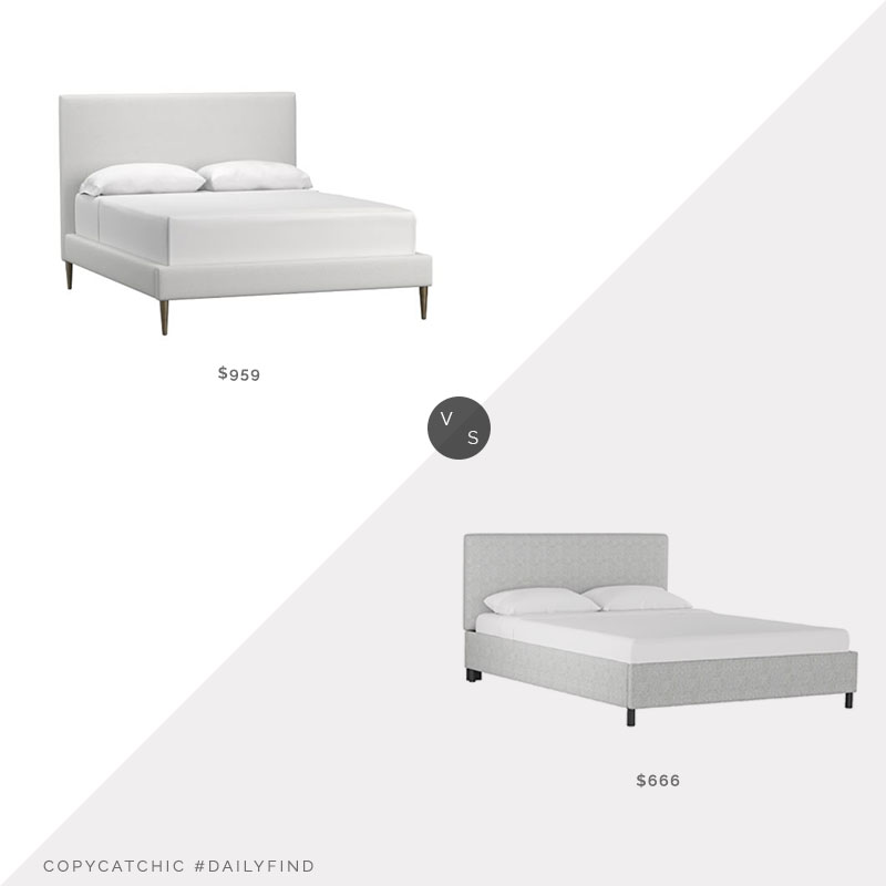 Daily Find: Pottery Barn Ellery Essential Upholstered Bed vs. AllModern Arietta Upholstered Platform Bed, upholstered bed look for less, copycatchic luxe living for less, budget home decor and design, daily finds, home trends, sales, budget travel and room redos