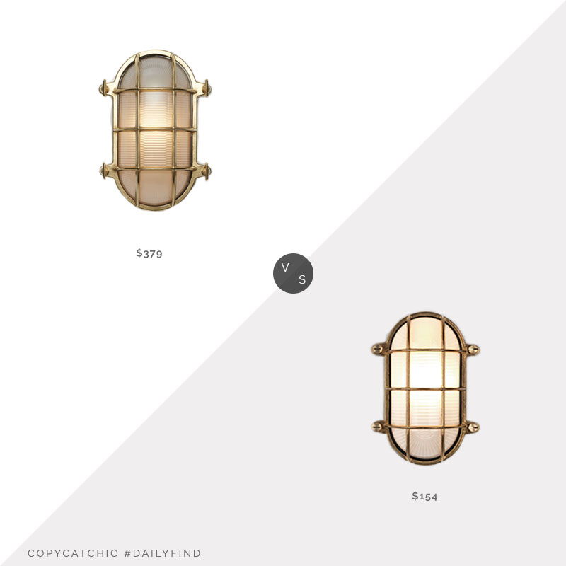 Daily Find: Rejuvenation Caged Bulkhead Sconce vs. Astro Thurso Oval Wall Light, caged light look for less, copycatchic luxe living for less, budget home decor and design, daily finds, home trends, sales, budget travel and room redos