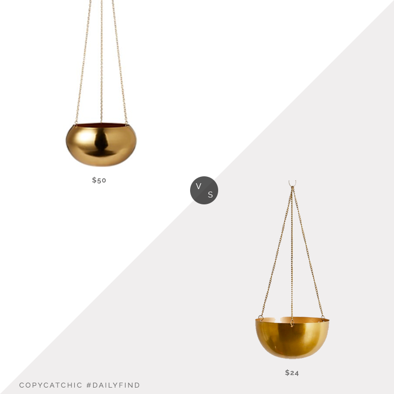 Daily Find: CB2 Raj Gold Hanging Planter vs. Urban Outfitters Metal Hanging Planter, gold hanging planter look for less, copycatchic luxe living for less, budget home decor and design, daily finds, home trends, sales, budget travel and room redos
