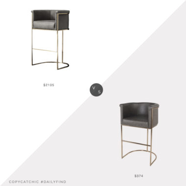 Daily Find: Restoration Hardware Wexler Barrelback Leather Stool vs. Wayfair Xamiera Barstool, gray leather stool look for less, copycatchic luxe living for less, budget home decor and design, daily finds, home trends, sales, budget travel and room redos