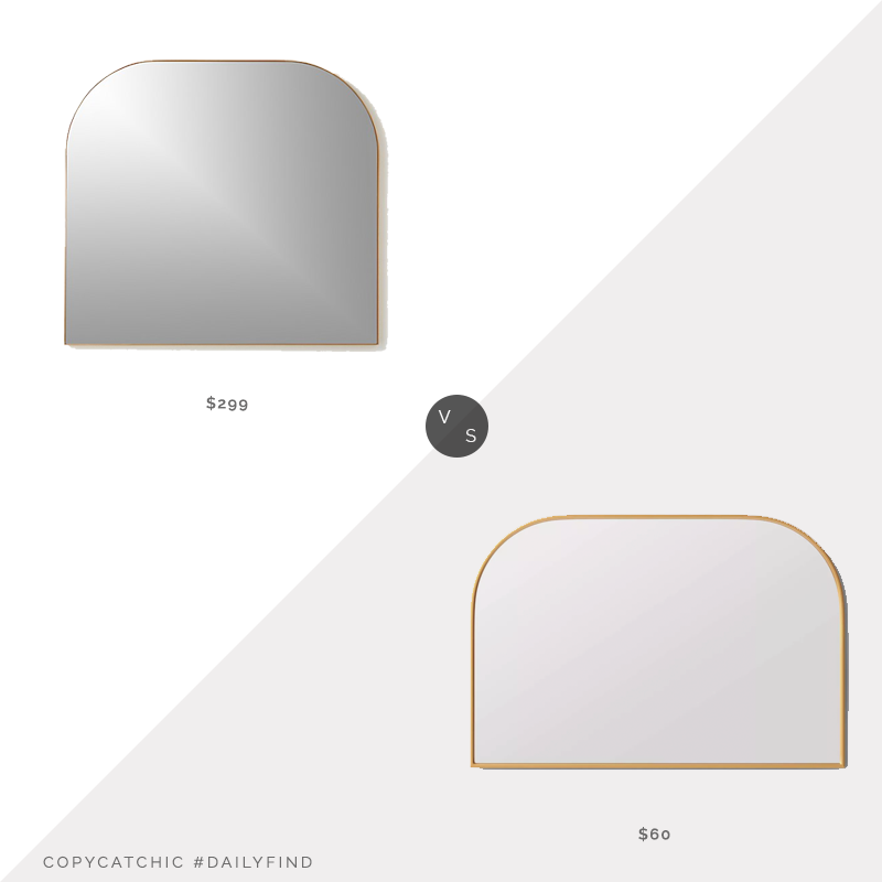 Daily Find: CB2 Infinity Brass Metal Mirror vs. Target Project 62 Over the Mantel Mirror, gold arched mirror look for less, copycatchic luxe living for less, budget home decor and design, daily finds, home trends, sales, budget travel and room redos