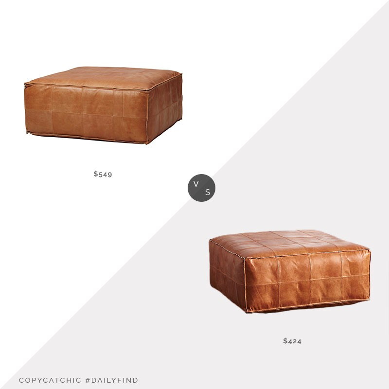 Daily Find: CB2 Leather Ottoman vs. Etsy Leather Ottoman, leather pouf look for less, copycatchic luxe living for less, budget home decor and design, daily finds, home trends, sales, budget travel and room redos