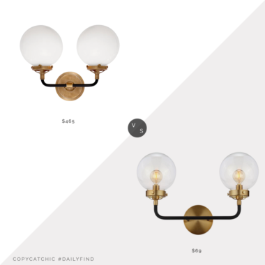 Daily Find: Circa Lighting Bistro Double Light Curved Sconce vs. Home Depot JONATHAN Y Caleb 2-Light Wall Sconce, double sconce look for less, copycatchic luxe living for less, budget home decor and design, daily finds, home trends, sales, budget travel and room redos