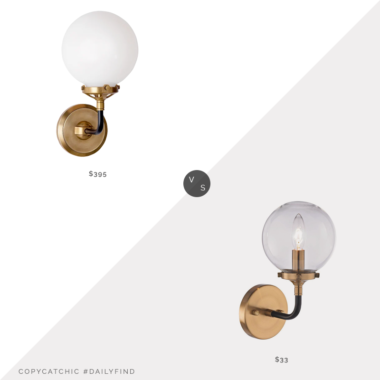 Daily Find | Circa Lighting Bistro Single Light Sconce vs. Home Depot Home Decorators Collection Matte Black & Antique Gold Sconce, globe sconce look for less, copycatchic luxe living for less, budget home decor and design, daily finds, home trends, sales, budget travel and room redos
