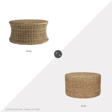Daily Find: Joss and Main Benicio Coffee Table vs. Walmart Rush Grass Knot Work Coffee Table/Ottoman, woven coffee table look for less, copycatchic luxe living for less, budget home decor and design, daily finds, home trends, sales, budget travel and room redos