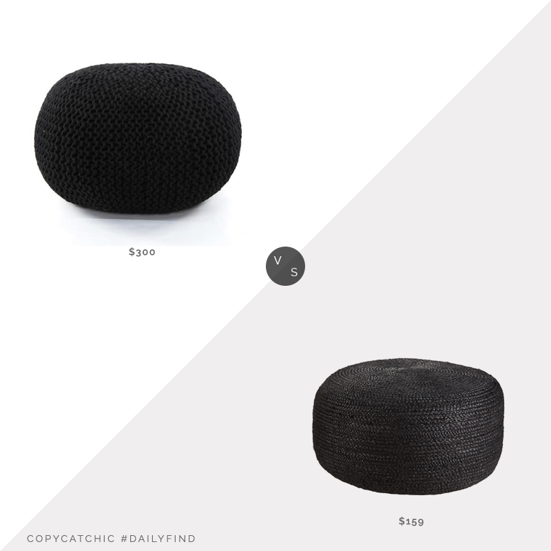 Daily Find: Kathy Kuo Home Camdyn Coastal Black Jute Round Pouf vs. CB2 Large Black Braided Jute Pouf, black pouf look for less, copycatchic luxe living for less, budget home decor and design, daily finds, home trends, sales, budget travel and room redos