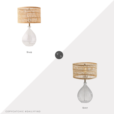 Daily Find: Urban Outfitters Teardrop Glass Table Lamp vs. Home Depot Adesso Cuba Clear Glass and Rattan Table Lamp, rattan lamp shade look for less, copycatchic luxe living for less, budget home decor and design, daily finds, home trends, sales, budget travel and room redos