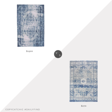 Daily Find: West Elm Distressed Arabesque Wool Rug vs. Rugs USA Light Blue Distressed Persian Area Rug, blue persian rug look for less, copycatchic luxe living for less, budget home decor and design, daily finds, home trends, sales, budget travel and room redos