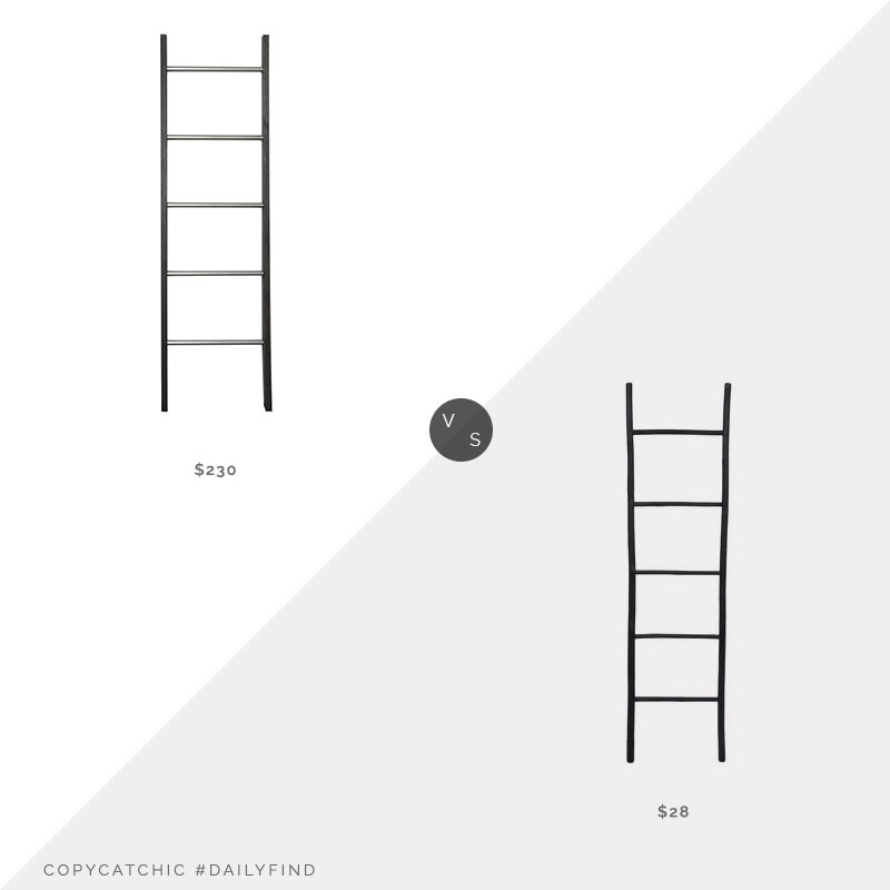 Daily Find: Brandtworks Black Ladder Shelf vs. Hobby Lobby Black Wood Ladder, decorative ladder look for less, copycatchic luxe living for less, budget home decor and design, daily finds, home trends, sales, budget travel and room redos