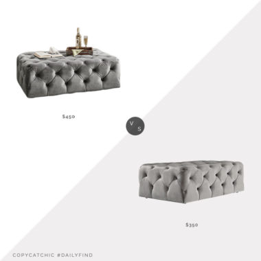 Daily Find: The Room Place Barrington Velvet Ottoman vs. Three Posts Huskins Tufted Velvet Ottoman, tufted ottoman look for less, copycatchic luxe living for less, budget home decor and design, daily finds, home trends, sales, budget travel and room redos