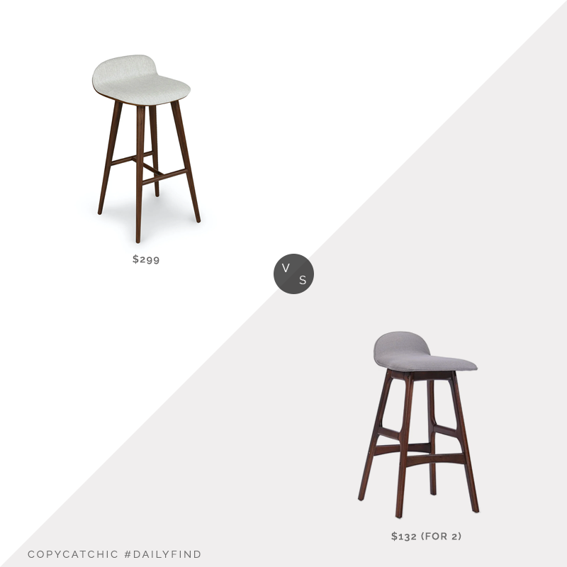 Daily Find: Article Sede Mist Gray Walnut Bar Stool vs. Overstock Anatoli Mid-Century Modern Barstools (set of 2), upholstered bar stool look for less, copycatchic luxe living for less, budget home decor and design, daily finds, home trends, sales, budget travel and room redos