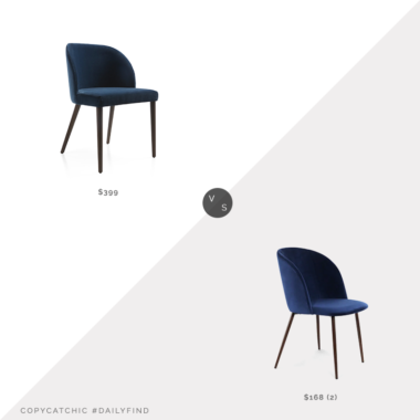 Daily Find: Crate & Barrel Camille Velvet Dining Chair vs. Overstock EdgeMod Kantwell Velvet Dining Chair, navy velvet dining chair look for less, copycatchic luxe living for less, budget home decor and design, daily finds, home trends, sales, budget travel and room redos