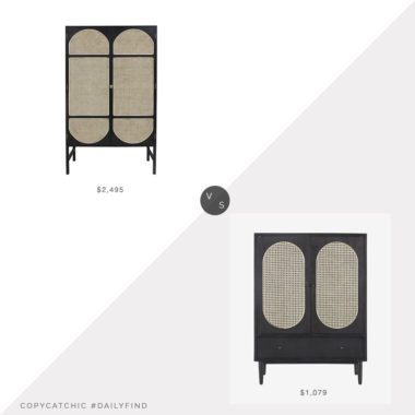 Daily Find: HK Living Retro Webbing Wardrobe Cabinet vs. Beam Bauer Bar Cabinet, cane cabinet look for less, copycatchic luxe living for less, budget home decor and design, daily finds, home trends, sales, budget travel and room redos