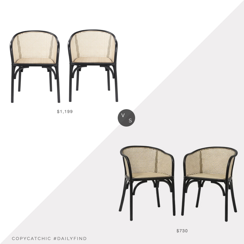Daily Find: Pottery Barn Barrel Back Cane Dining Armchair Set of 2 vs. Joss and Main Cara Armchair Set of 2, cane dining chair look for less, copycatchic luxe living for less, budget home decor and design, daily finds, home trends, sales, budget travel and room redos