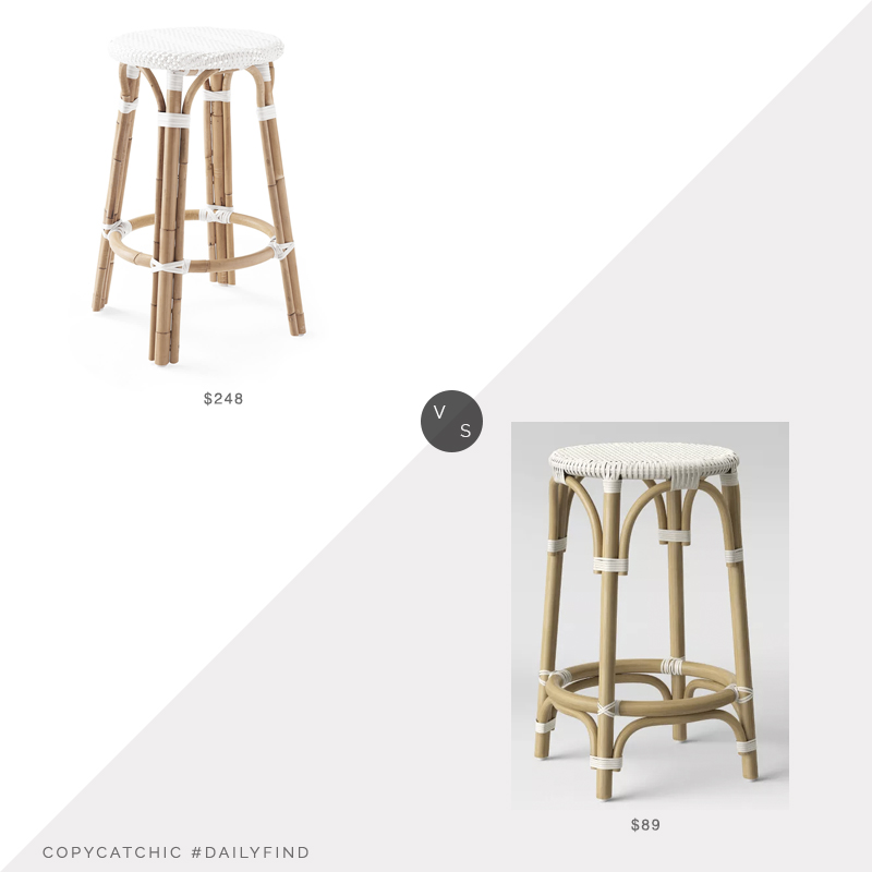 Daily Find: Serena and Lily Riviera Backless Barstool vs. Target Perry Rattan Backless Woven Barstool, riviera stool look for less, copycatchic luxe living for less, budget home decor and design, daily finds, home trends, sales, budget travel and room redos