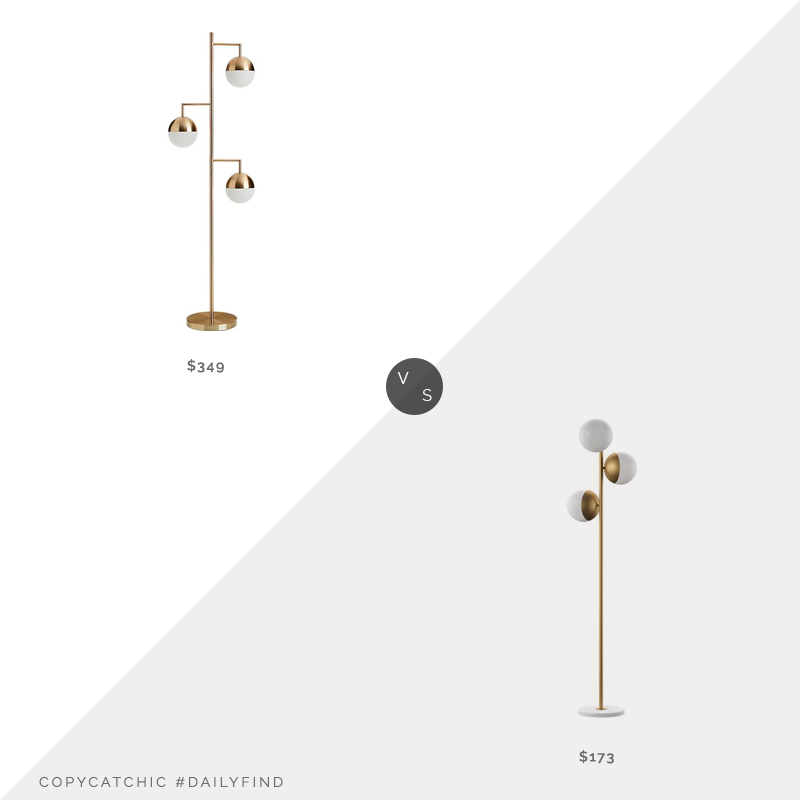 Daily Find: CB2 Orbs Champagne Floor Lamp vs. Wayfair MercuryRow Yearby Tree Floor Lamp, modern brass floor lamp look for less, copycatchic luxe living for less, budget home decor and design, daily finds, home trends, sales, budget travel and room redos