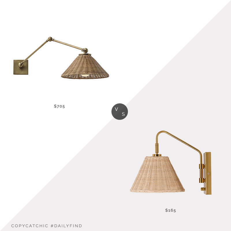 Daily Find: Lumens Padma Swim Arm Wall Lamp vs. Bellecor Surya Cerro Natural Wall Sconce, wicker sconce look for less, copycatchic luxe living for less, budget home decor and design, daily finds, home trends, sales, budget travel and room redos