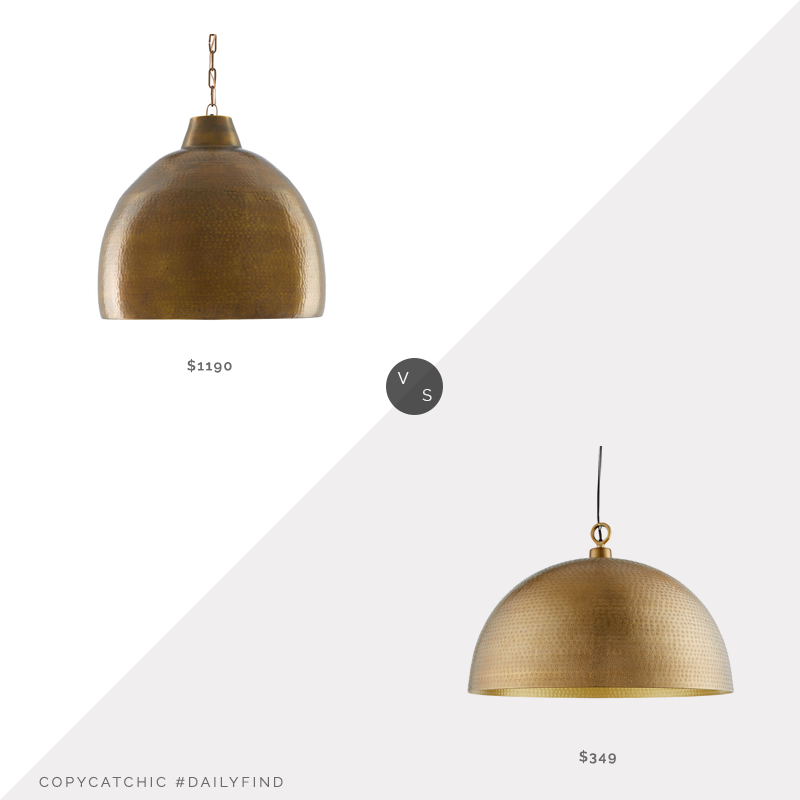 Daily Find: Scout and Nimble Earthshine Large Pendant vs. Crate & Barrel Rodan Hammered Brass Dome Pendant, hammered brass light fixture look for less, copycatchic luxe living for less, budget home decor and design, daily finds, home trends, sales, budget travel and room redos