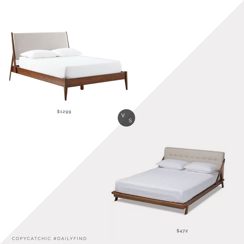 Daily Finds: West Elm Wright Upholstered Bed vs. Houzz Baxton Studio Sante Mid Century Upholstered Bed, upholstered platform bed look for less, copycatchic luxe living for less, budget home decor and design, daily finds, home trends, sales, budget travel and room redos