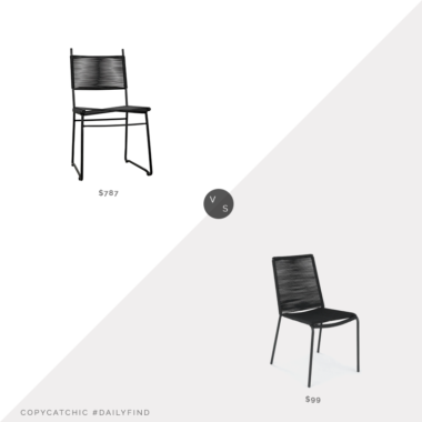 Daily Find: Meadow Blu Noir Pango Chairvs. Article Zina Ember Black Dining Chair, black rope chair look for less, copycatchic luxe living for less, budget home decor and design, daily finds, home trends, sales, budget travel and room redos
