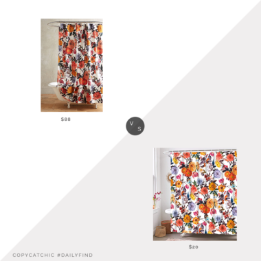 Daily Find: Anthropologie Agneta Shower Curtain vs. Amazon Neasow Boho Floral Shower Curtain with Hooks, floral shower curtain look for less, copycatchic luxe living for less, budget home decor and design, daily finds, home trends, sales, budget travel and room redos