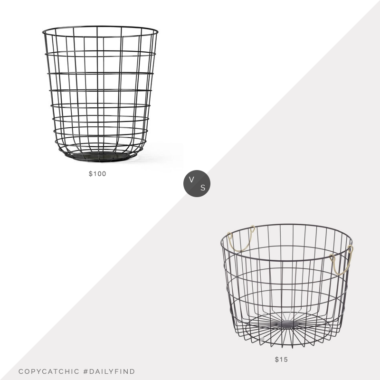 Daily Find: 2Modern Menu Wire Bin vs. Walmart BHG Round Wire Basket with Brass Handles, wire basket look for less, copycatchic luxe living for less, budget home decor and design, daily finds, home trends, sales, budget travel and room redos