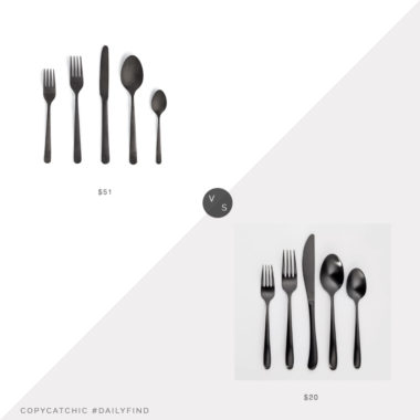 Daily Find: Design Within Reach Almoco Flatware vs. Target Threshold Kayden Silverware, black flatware look for less, copycatchic luxe living for less, budget home decor and design, daily finds, home trends, sales, budget travel and room redos