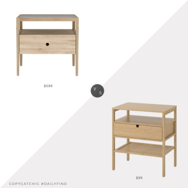Daily Find: Modern Planet Ethnicraft Spindle Bedside Table vs. Ikea Nordkisa Nightstand, light wood nightstand look for less, copycatchic luxe living for less, budget home decor and design, daily finds, home trends, sales, budget travel and room redos