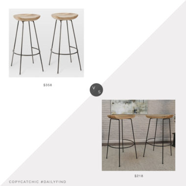 Daily Find: West Elm Alden Bar Stool Set of 2 vs. Hayneedle Granger Bar Stool Set of 2, wood metal bar stool look for less, copycatchic luxe living for less, budget home decor and design, daily finds, home trends, sales, budget travel and room redos