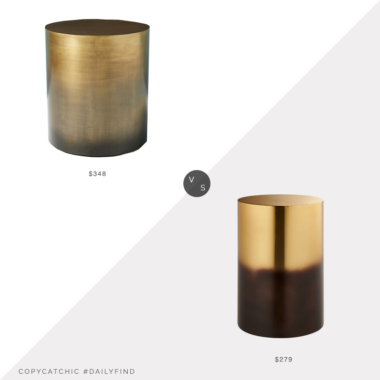 Daily Find: Anthropologie Almandine Ombre Drum Side Table vs. CB2 Winston Round Ombre Side Table, gold drum side table look for less, copycatchic luxe living for less, budget home decor and design, daily finds, home trends, sales, budget travel and room redos