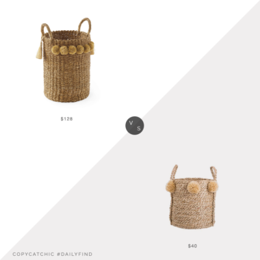 Daily Find: Serena and Lily Big Sur Basket vs. Bed Bath & Beyond Bee & Willow Home Large Seagrass Pom Pom Basket, pom pom basket look for less, copycatchic luxe living for less, budget home decor and design, daily finds, home trends, sales, budget travel and room redos