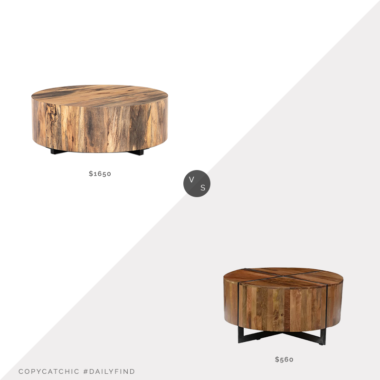 Daily Find: Lulu & Georgia Boni Round Coffee Table vs. All Modern Reiban Coffee Table, wood and metal coffee table look for less, copycatchic luxe living for less, budget home decor and design, daily finds, home trends, sales, budget travel and room redos
