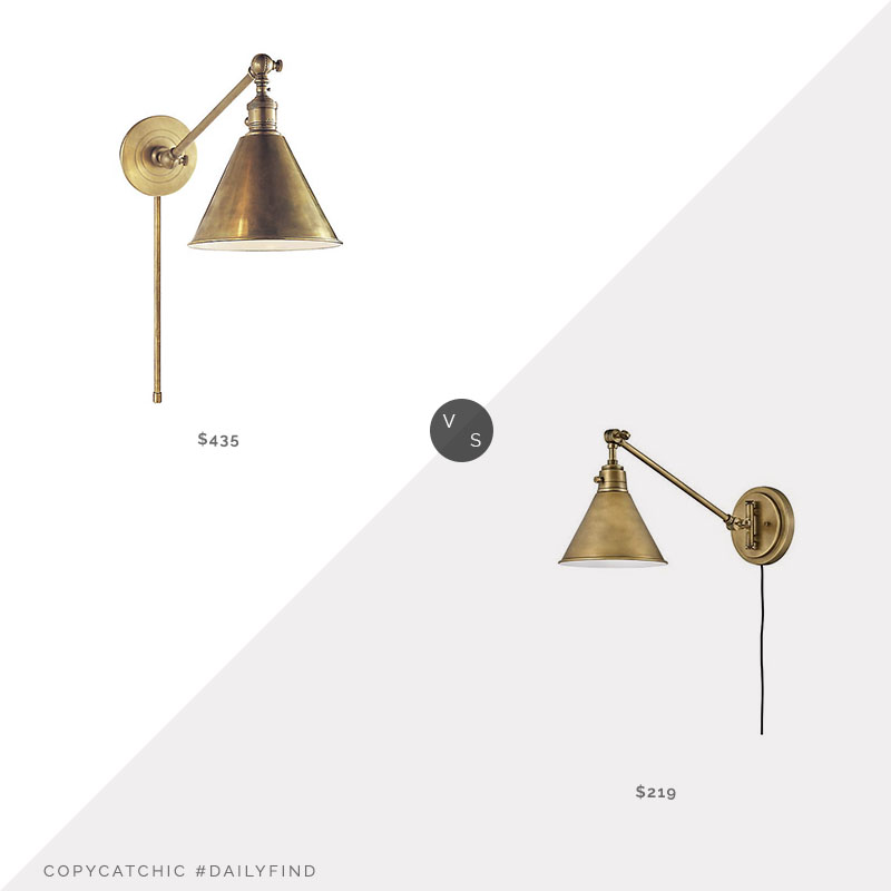 Daily Find: Visual Comfort Boston Adjustable Wall Sconce vs. Hinkley Arti Wall Sconce, brass sconce look for less, copycatchic luxe living for less, budget home decor and design, daily finds, home trends, sales, budget travel and room redos