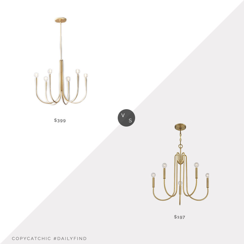 Daily Find: West Elm Swoop Arm Chandelier vs. Joss & Main Delgado 5-Light Chandelier, brass chandelier look for less, copycatchic luxe living for less, budget home decor and design, daily finds, home trends, sales, budget travel and room redos