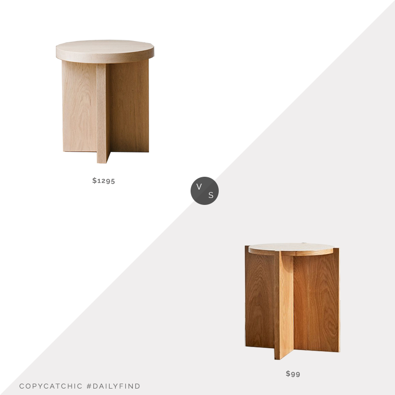 Daily Find: Jenni Kayne Small Oak Side Table vs. Urban Outfitters Astrid Round Side Table, oak side table look for less, copycatchic luxe living for less, budget home decor and design, daily finds, home trends, sales, budget travel and room redos