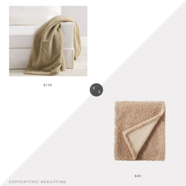 Daily Find: Pottery Barn Cozy Teddy Faux Fur Throw vs. Target Threshold Designed with Studio McGee Boucle Throw Blanket with Plush Reverse, teddy bear fur throw look for less, copycatchic luxe living for less, budget home decor and design, daily finds, home trends, sales, budget travel and room redos