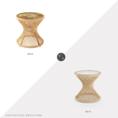 Daily Find: Serena and Lily Blithedale Side Table vs. Wayfair Rosana Rattan Glass Top Pedestal End Table, rattan side table look for less, copycatchic luxe living for less, budget home decor and design, daily finds, home trends, sales, budget travel and room redos