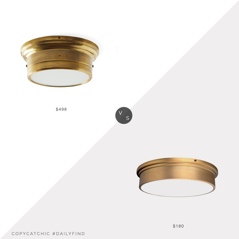 Daily Find: Serena and Lily Breton Flushmount vs. Home Depot WAC Lighting York Aged Brass LED Flushmount, brass flushmount light look for less, copycatchic luxe living for less, budget home decor and design, daily finds, home trends, sales, budget travel and room redos