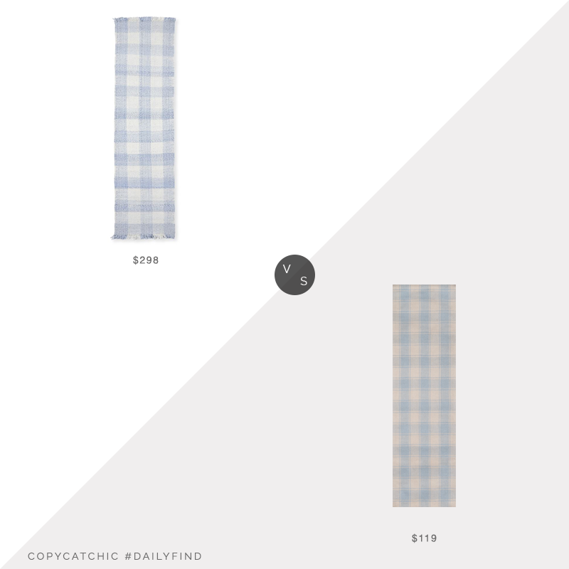 Daily Find: Serena and Lily Gingham Rug vs. Incredible Rugs and Decor Momeni Marlborough Charles Light Blue Area Rug By Erin Gates, blue gingham rug look for less, copycatchic luxe living for less, budget home decor and design, daily finds, home trends, sales, budget travel and room redos