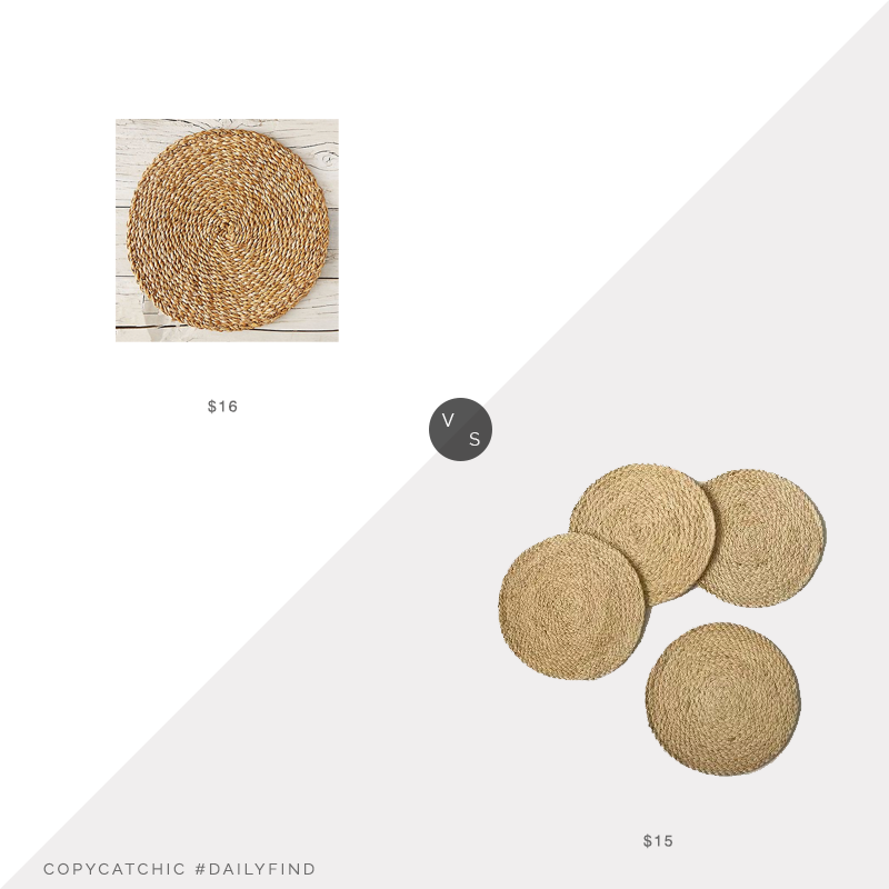 Daily Find: Terrain Seagrass Charger (single) vs. Target Threshold Rush Charger Placemats (set of 4), seagrass charger look for less, copycatchic luxe living for less, budget home decor and design, daily finds, home trends, sales, budget travel and room redos