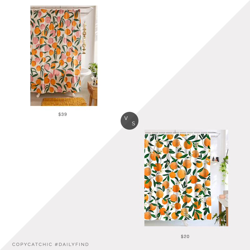 Daily Find: Urban Outfitters Allover Fruits Shower Curtain vs. Amazon Lifeel Allover Fruits Shower Curtain, oranges shower curtain look for less, copycatchic luxe living for less, budget home decor and design, daily finds, home trends, sales, budget travel and room redos
