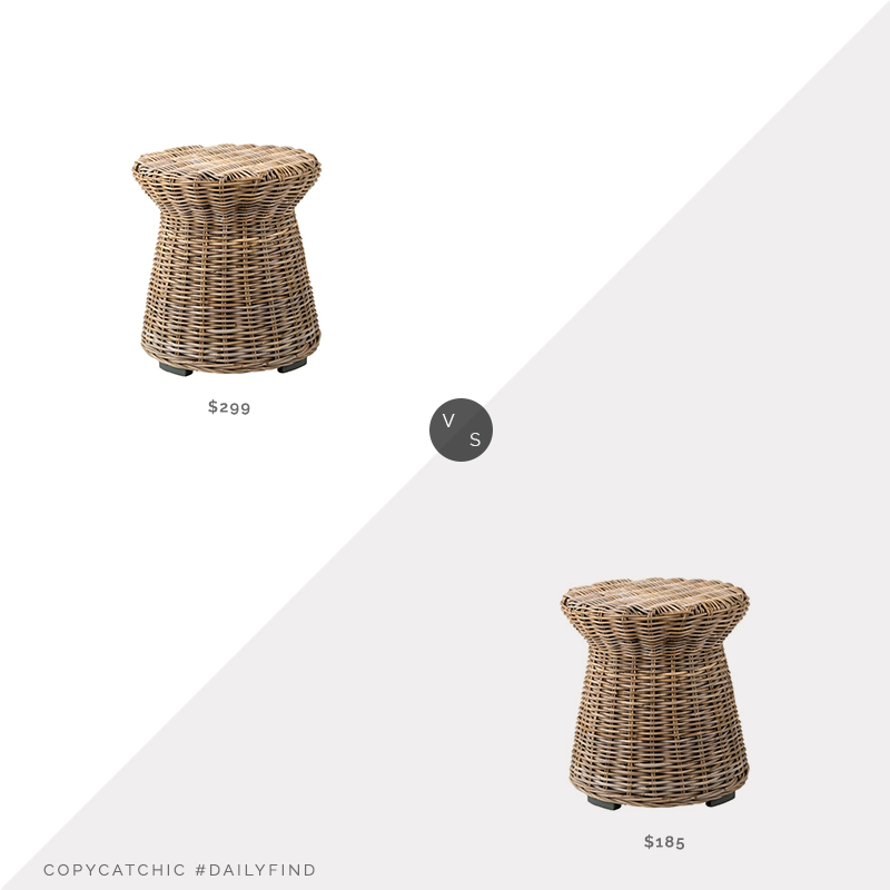 "Daily Find: Pottery Barn Rattan 20"" Round End Table vs. Wayfair Drum End Table, rattan side table look for less, copycatchic luxe living for less, budget home decor and design, daily finds, home trends, sales, budget travel and room redos"