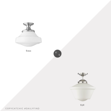 Daily Find: Schoolhouse Newbury Fixture & Belt Shade vs. Amazon Trade Winds Lighting Schoolhouse Light, schoolhouse light fixture look for less, copycatchic luxe living for less, budget home decor and design, daily finds, home trends, sales, budget travel and room redos