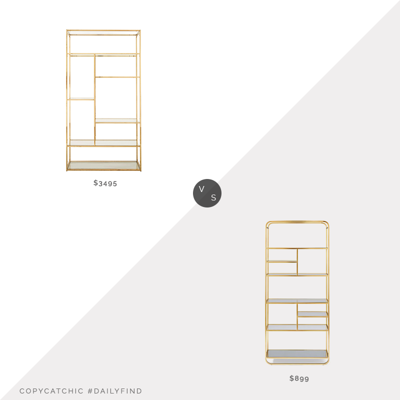 Daily Find: 1st Dibs Mid-Century Rectangular Brass Shelf vs. West Elm Denise Tall Bookshelf, brass bookshelf look for less, copycatchic luxe living for less, budget home decor and design, daily finds, home trends, sales, budget travel and room redos