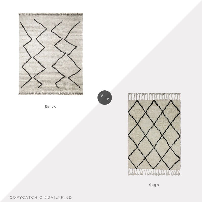 Daily Find: Lulu & Georgia Leila Moroccan Shag Rug vs. Wayfair nuLoom Zem Sweet Hibiscus Rug, moroccan rug look for less, copycatchic luxe living for less, budget home decor and design, daily finds, home trends, sales, budget travel and room redos